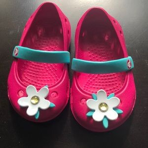 Pink Infant Crocs Mary Janes with Flower 4C